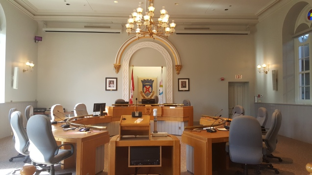 Town Hall meeting room.